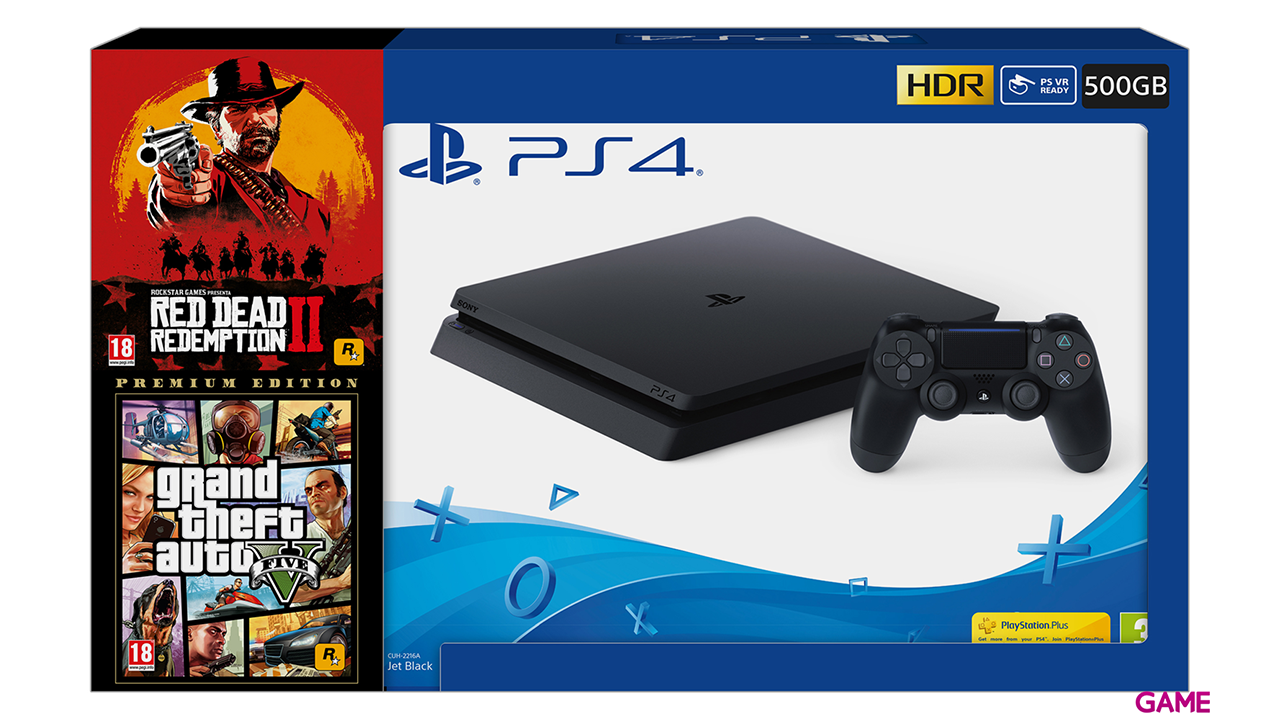 Consola 500gb Slim + Red Dead Redemption 2 + Gta 5 Premium - Ps4