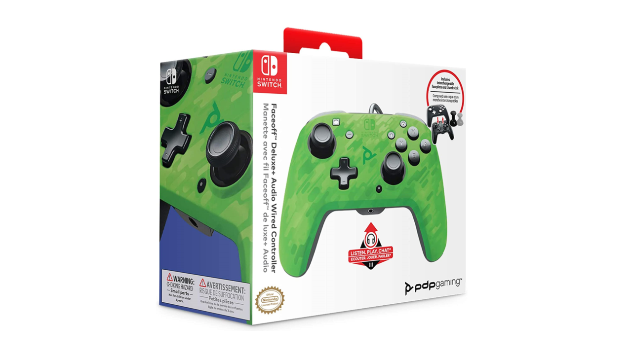 PDP Face off Deluxe Controller + Audio Camo Green pentru Nintendo Switch